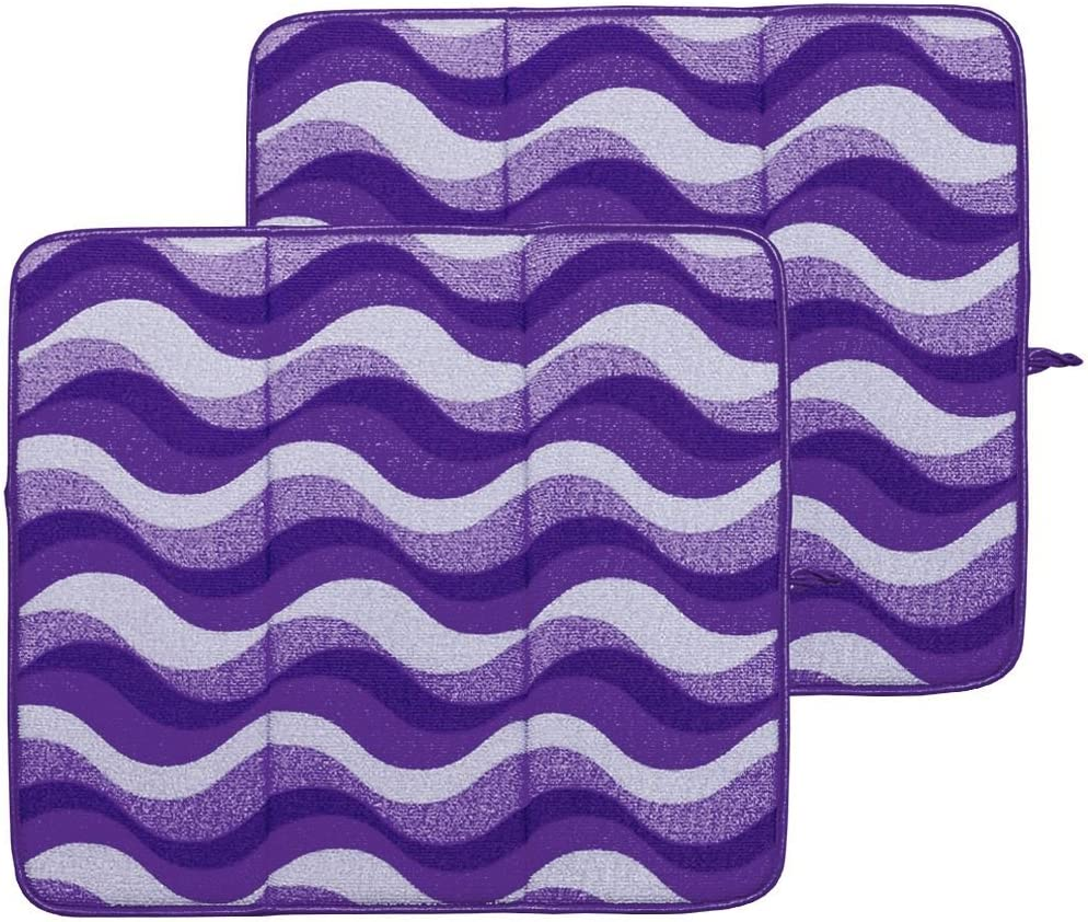 Campanelli's 2-Piece Premium Microfiber Drying Mats with Hanging Loop - Gently Dry your Dishes and Delicates. Highly Absorbent, Foldable, and Machine Washable. As Seen On QVC. (Lavender Fields)