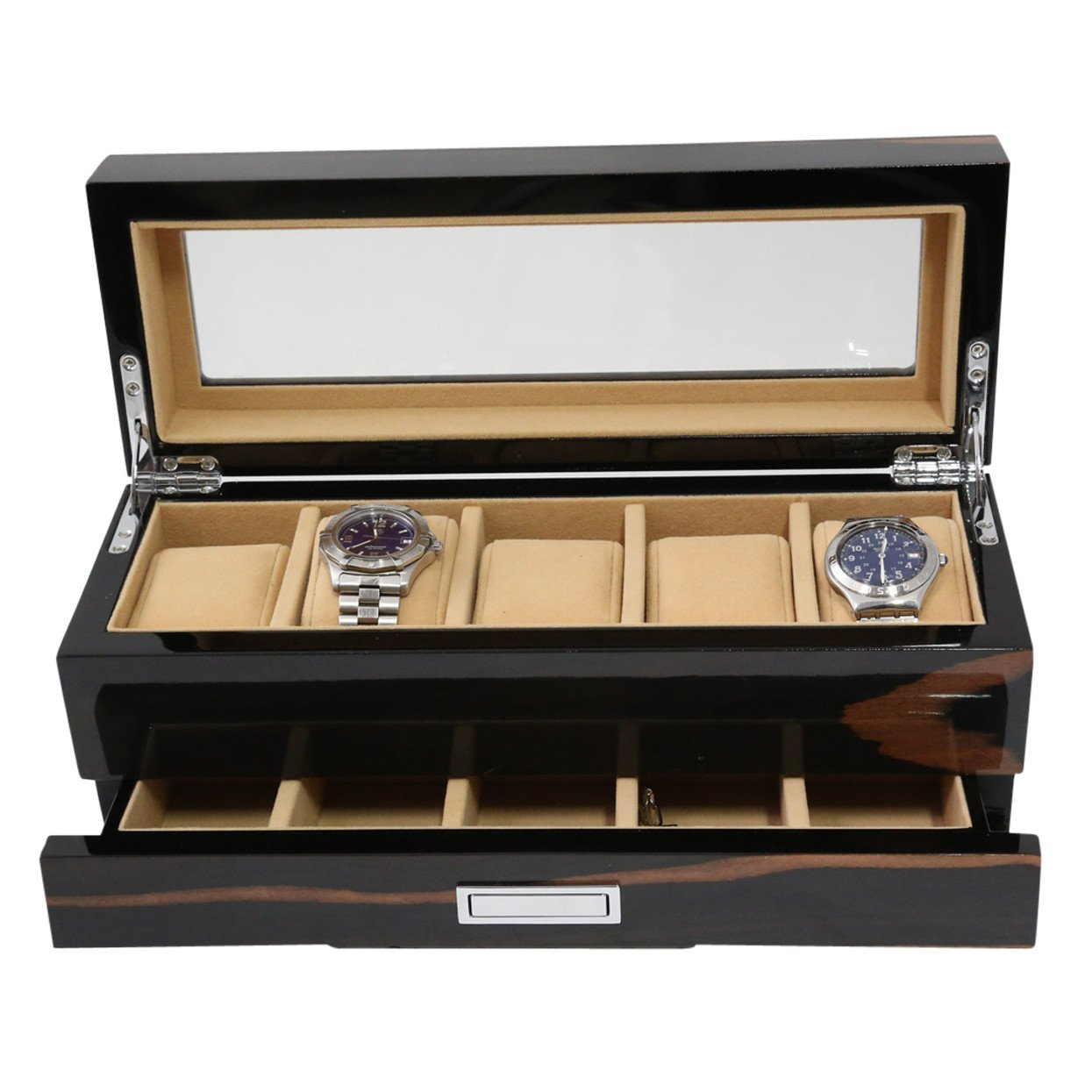 Bey Berk Contemporary Lacquered Ebony Wood Jewelry Watch Storage Box Case