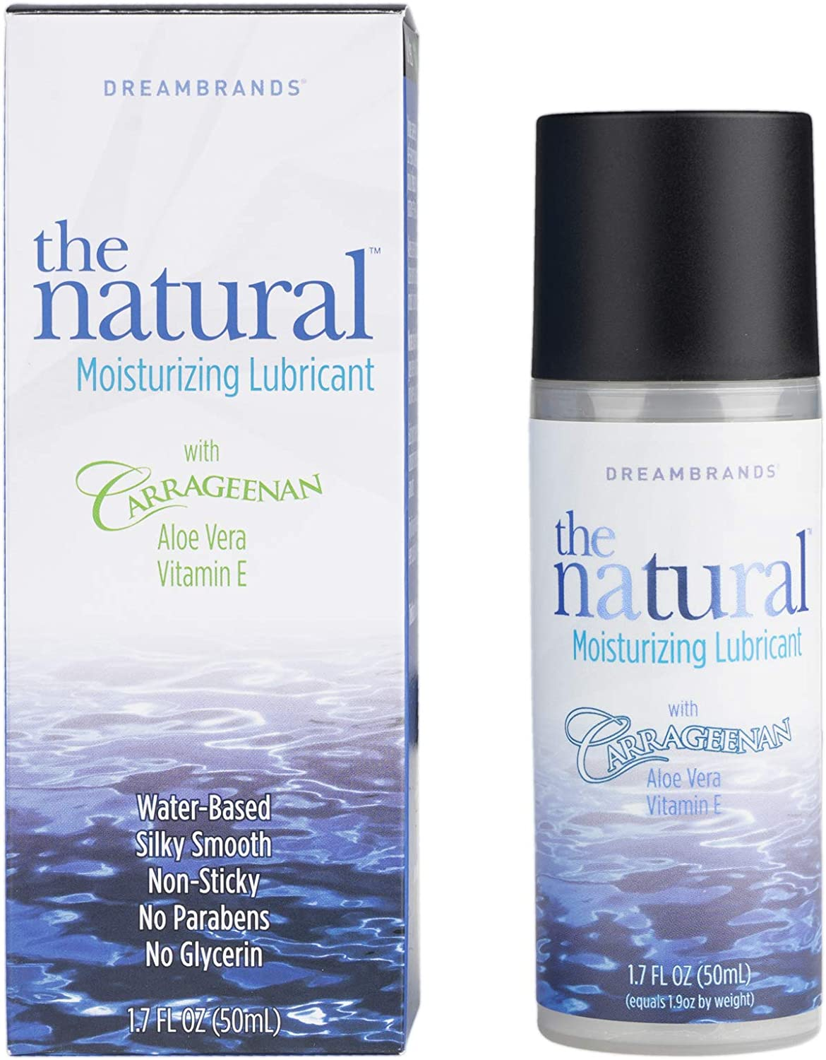 The Natural, Carrageenan Water-Based Lube, Personal Lubricant with Vitamin E and Aloe Vera - 1.7 fl oz - DreamBrands