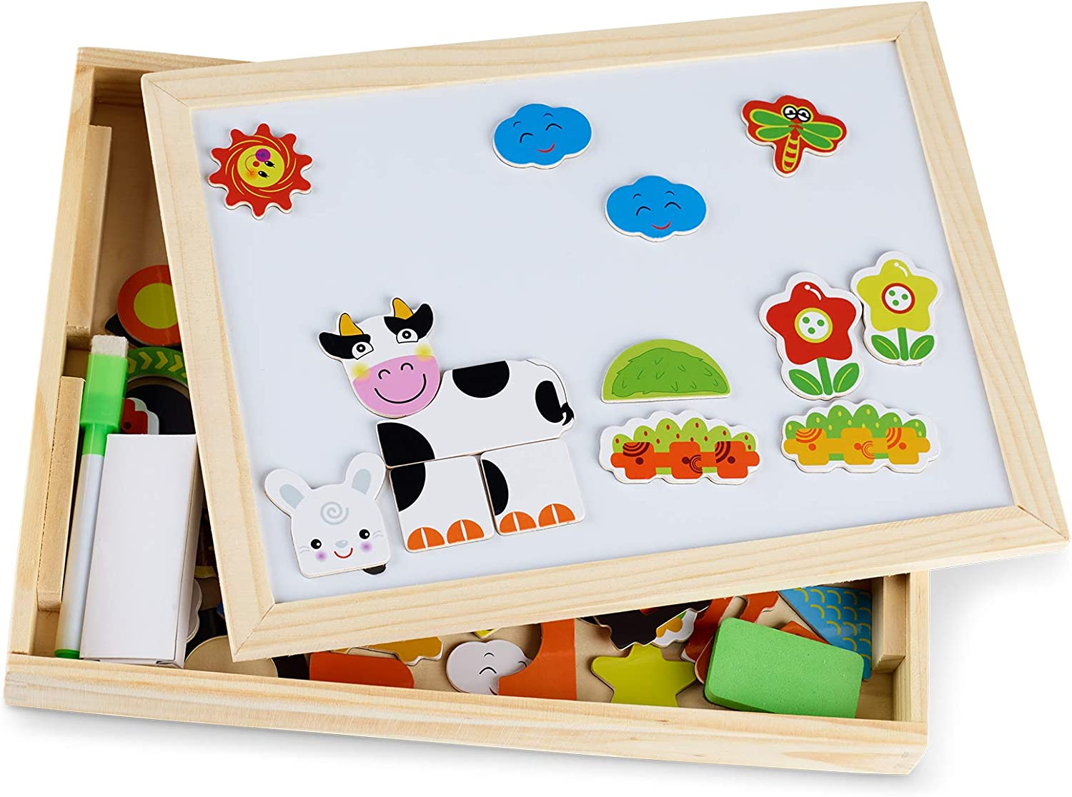 Tanness Wooden Magnetic Board Puzzle Games Double Sided Jigsaw Farm Pattern Drawing Easel Blackboard Educational Wood Toys for Boys Girls Kids Toddler Over 3 Year Olds