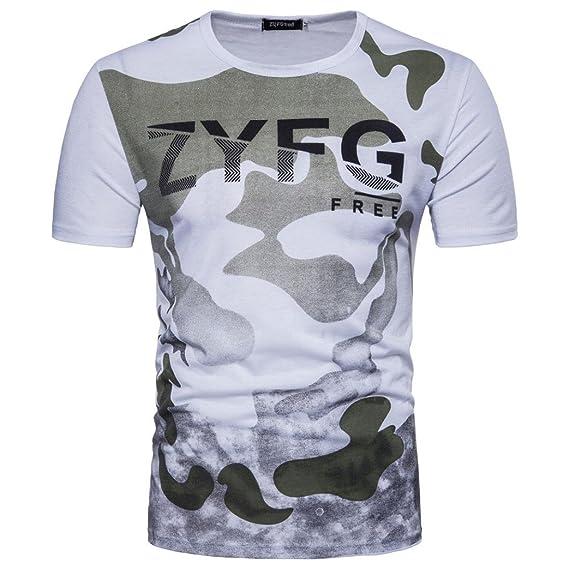 Camiseta para Hombre, ❤️Xinantime Top Casual de Camuflaje para Hombre Imprimir Letra Blusa O