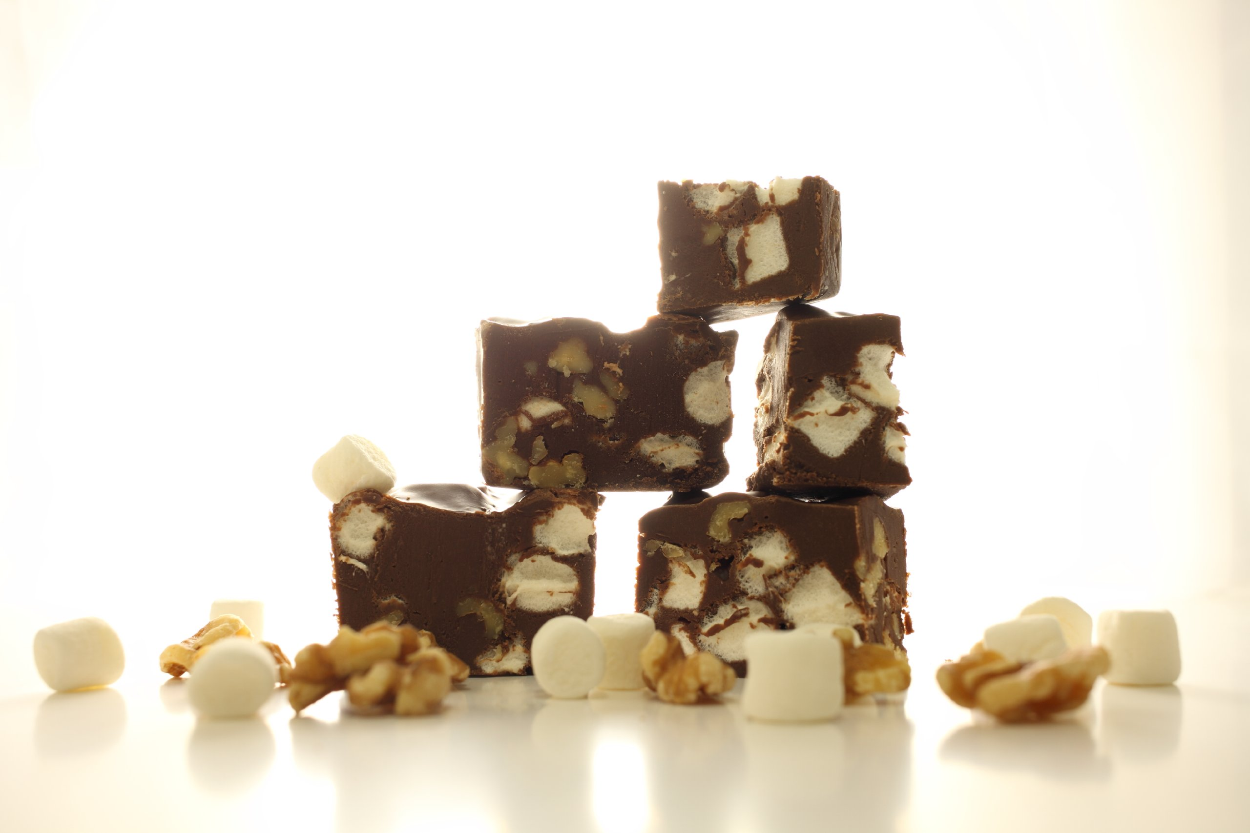 Oh Fudge - Chocolate Rocky Road Fudge 1 Pound - The Oh Fudge Co. secret rocky road fudge recipe - rich, pure, delicious creamy chocolate infused with loads of marshmallows and walnuts- compared to Mo's Fudge Factor