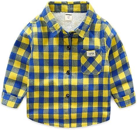 Weentop Camisa a Cuadros de niño Camiseta de Manga Larga Ropa para niños Pequeños (Color : Amarillo, tamaño : 100): Amazon.es: Hogar