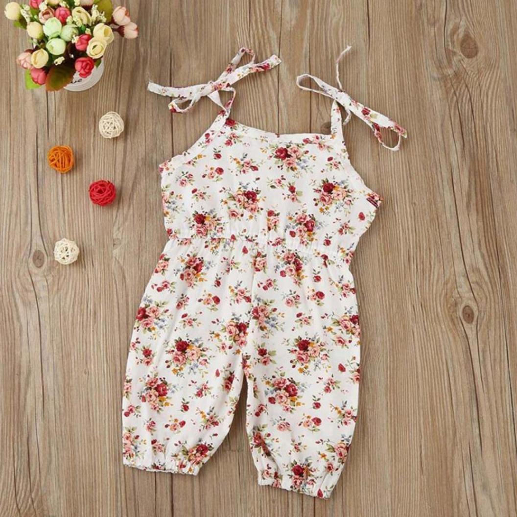 Amazon.com: fartido Pelele bebé niña Floral correa overol ...