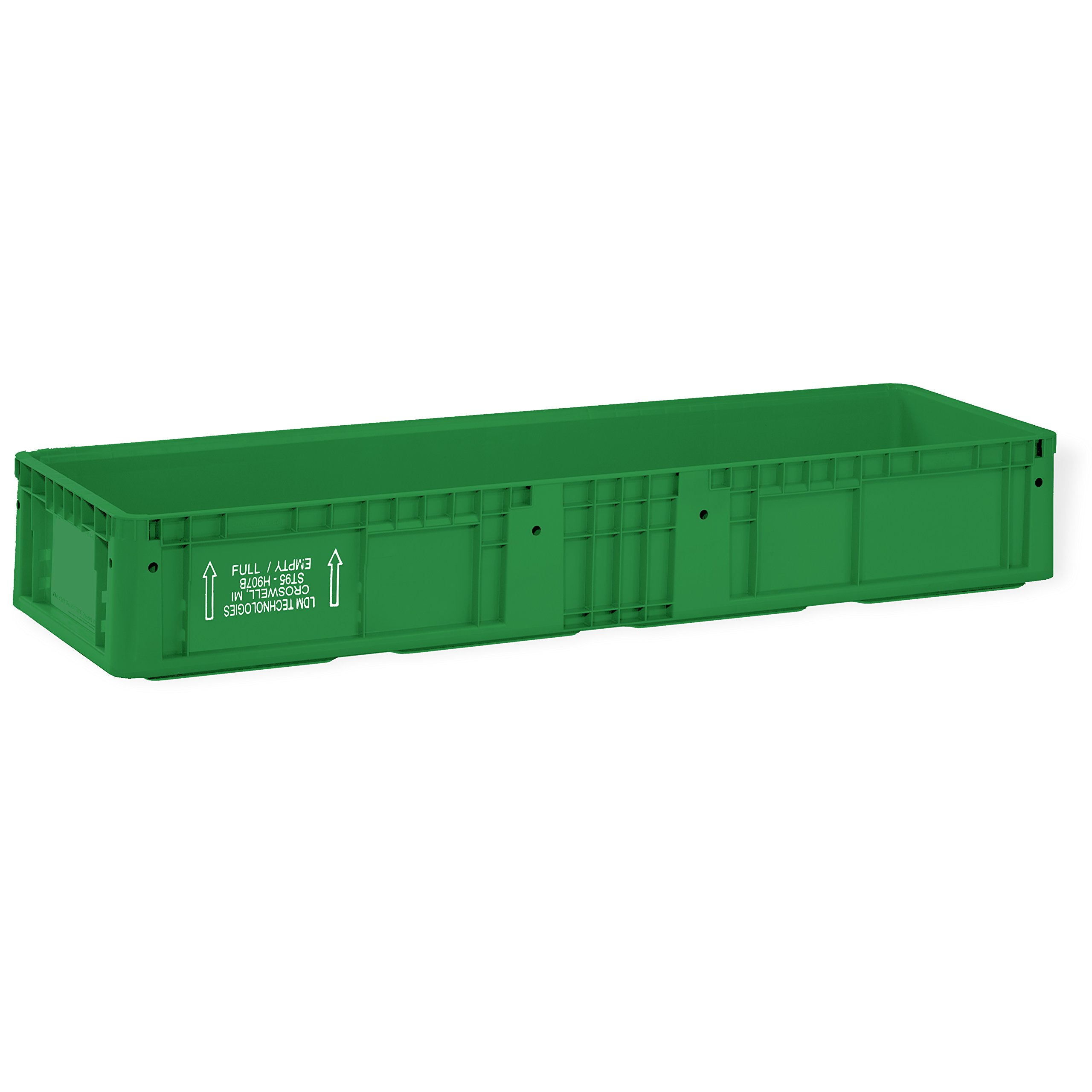 SSI SCHAEFER AF482207.AAGN1 Straight Wall Container, Polyethylene, Green, Capacity 44 lb, 48'' Length x 22'' Width x 7.5'' Height