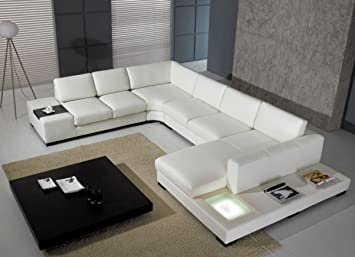 Sensational Modern Leather 5 Piece Sectional Sofa In White Pabps2019 Chair Design Images Pabps2019Com