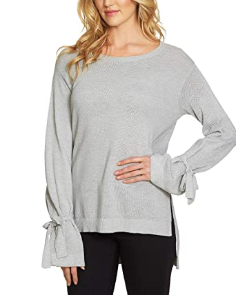 b73f9752cc5900 1.State Womens Long Sleeve Crewneck Sweater w Sleeves Cuff Ties at Amazon Women s  Clothing store
