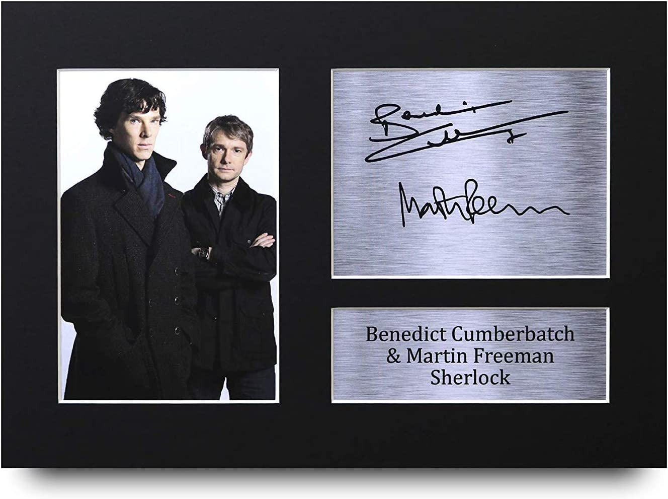 HWC Trading Sherlock A4 Sin Marco Regalo De Visualización De Fotos De Impresión De Imagen Impresa Autógrafo Firmado por Benedict Cumberbatch Martin Freeman Ventiladores De Programa De TV