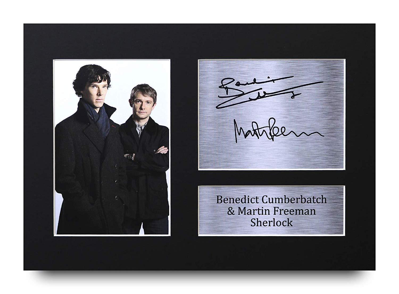 HWC Trading Sherlock A4 Incorniciato Firmato Regalo Visualizzazione delle Foto Print Immagine Autografo Stampato per Benedict Cumberbatch Martin Freeman TV Show Fan