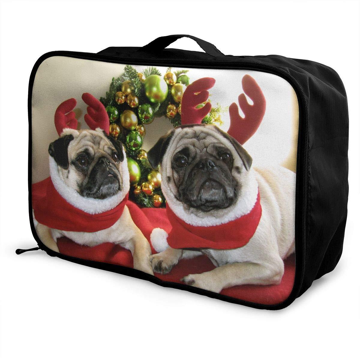 SSZW Christmas Pug Travel Duffel Bag Waterproof Fashion Lightweight Large Capacity Portable Luggage Bag