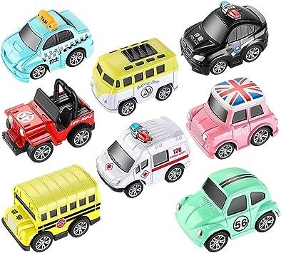 Ycco Pack de 8 Juguetes tira del coche - coches de juguete con luces de sonido y