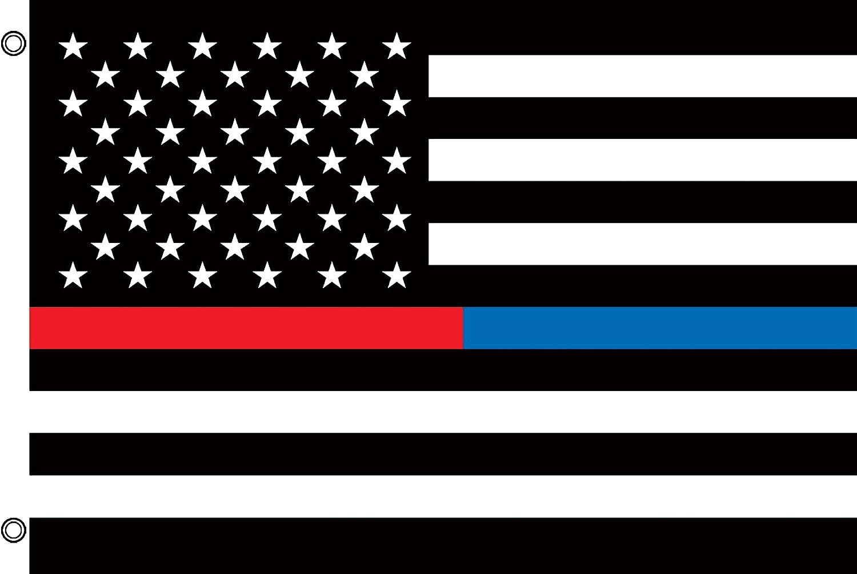 Delgada línea azul y rojo arandela bandera Policía bombero 3 x 5 Briarwood Lane: Amazon.es: Jardín