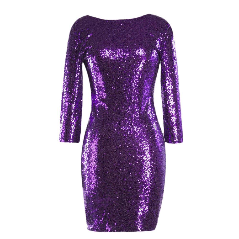 IWEMEK Women's Sparkle Glitter Sequin Bodycon Dress 3/4 Sleeve Evening Night Club Flapper Cocktail Mini Dress