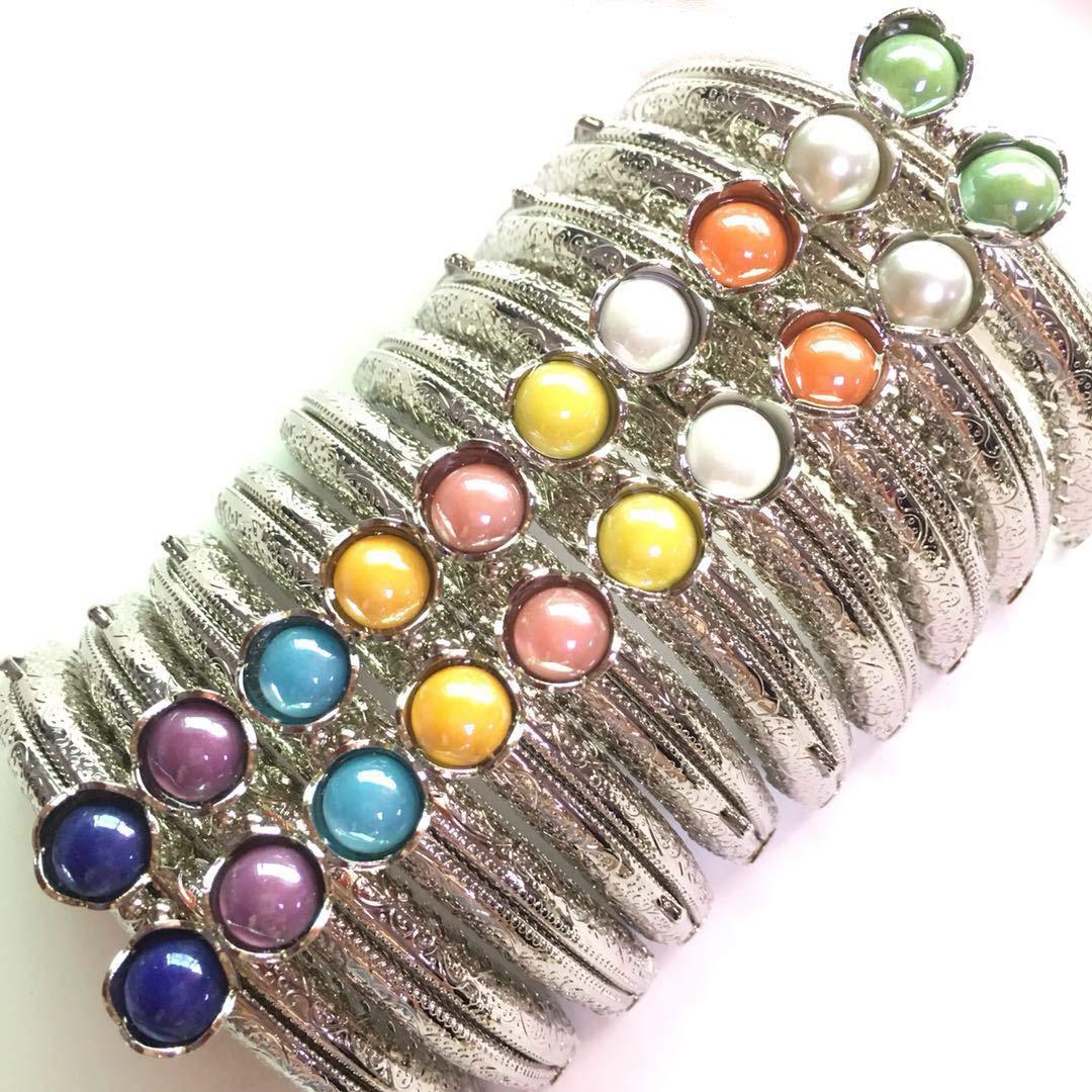 GuoFa 10.5CM Silver Metal Frame Purse Coin Bag Kiss Clasp Lock DIY Craft Assorted Lotus Bead Bronze 10PCS