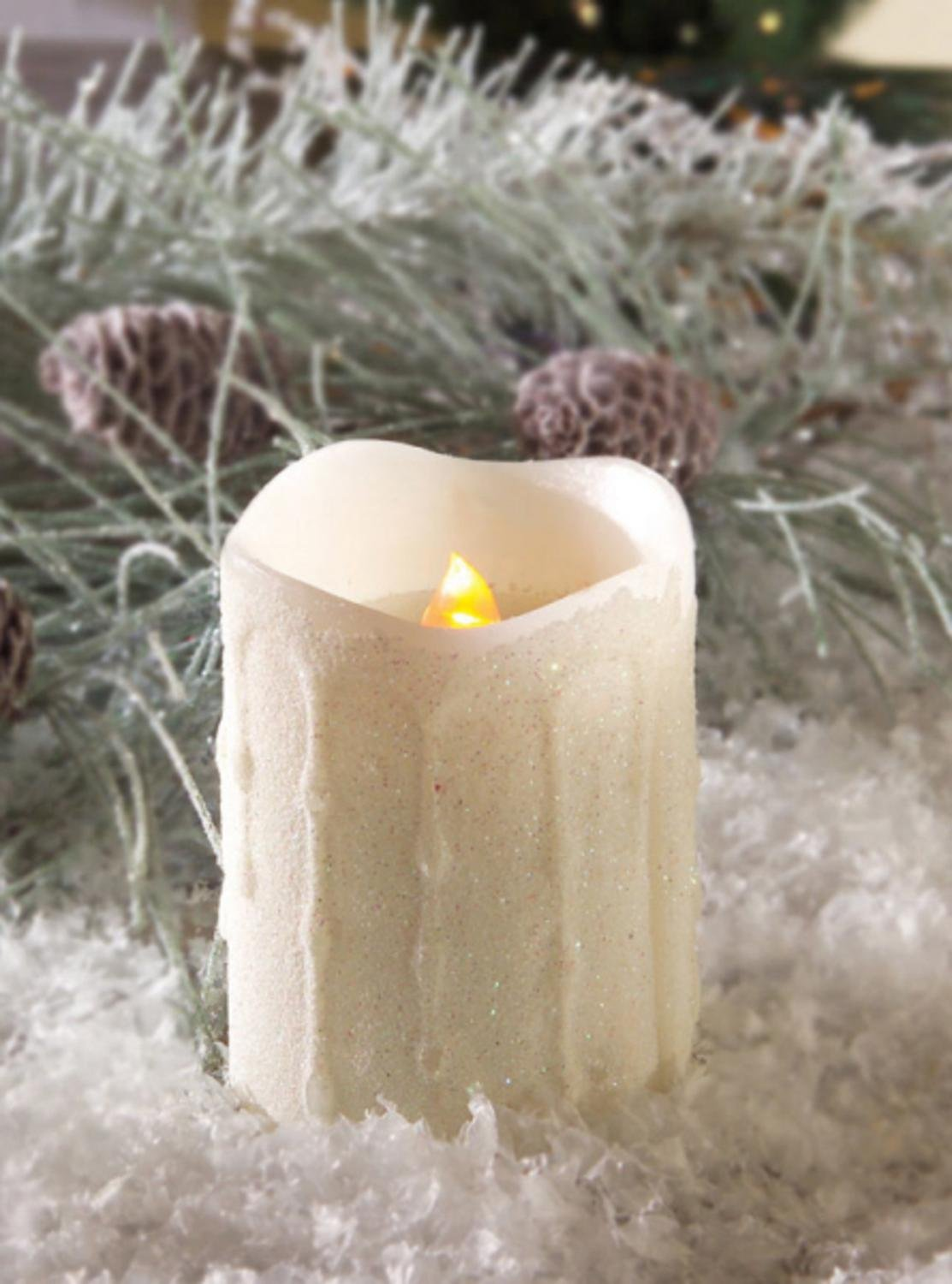 Pack of 6 White Glitter Flameless LED Flickering Christmas Pillar Candles 4'' by CC Christmas Decor