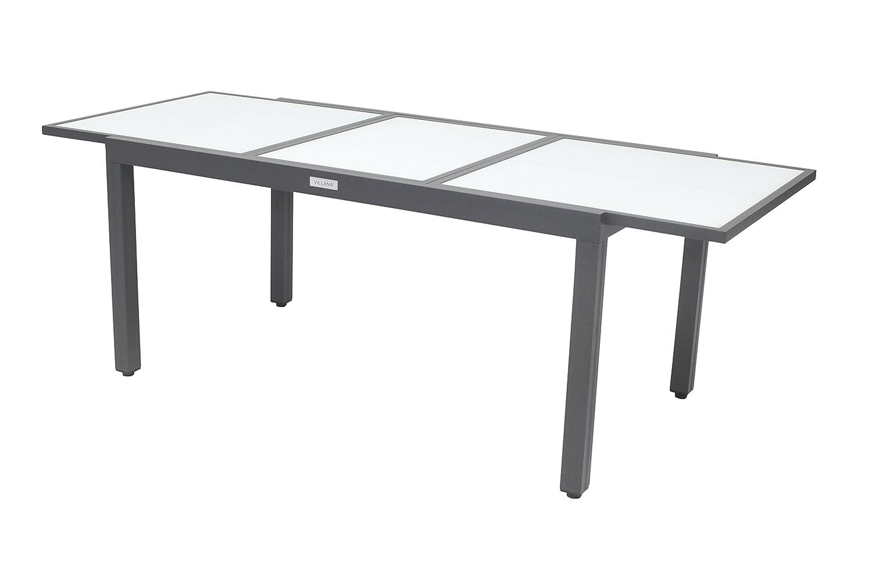 Villana exklusiver Ausziehtisch, Gartentisch aus hochwertigem Aluminium in schwarz, 160 220 x 90 x 75 cm, Glastischplatte, Outdoortisch, Esstisch, robust, pflegeleicht, klassisches Design
