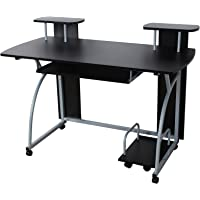 SONGMICS Schreibtisch Computertisch mit Rollen PC Tisch mit Tastaturauszug 2 Regale 120 x 59 x 90 cm LCD812B