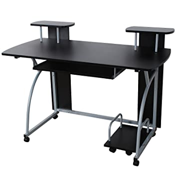 computer office table. interesting table songmics computer desk for home office table study workstation with sliding  keyboard and 4 swivel wheels on
