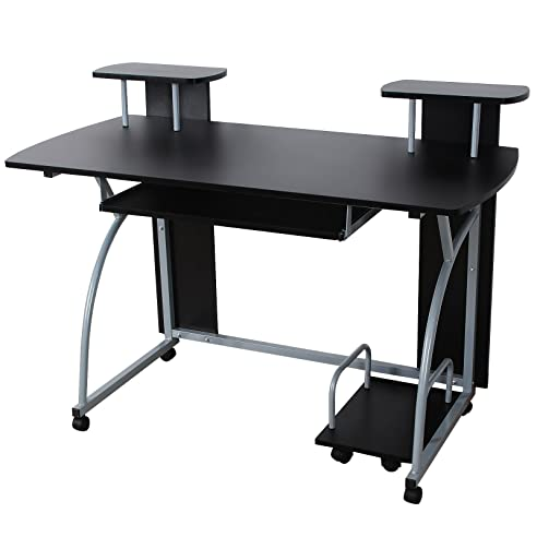 Songmics Schreibtisch Computertisch Mit Rollen PC Tisch Mit Tastaturauszug  2 Regale 120 X 59 X 90