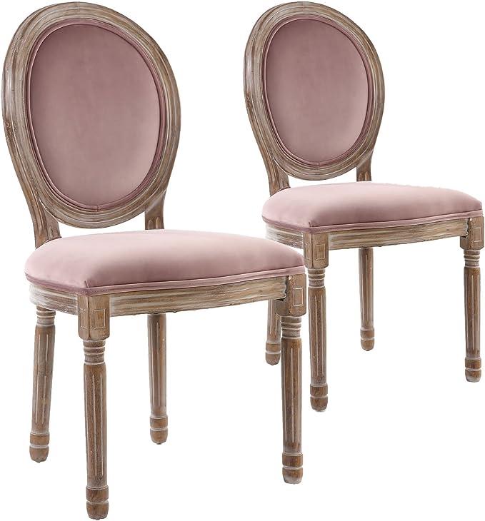 Menzzo – Juego de 2 sillas de Estilo medallón Louis XVI, Madera, Madera Acabado Antiguo y Terciopelo Rosa, 51 x 51 x 72 cm: Amazon.es: Hogar