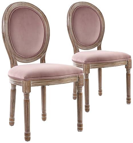 Menzzo - Juego de 2 sillas de Estilo medallón Louis XVI ...