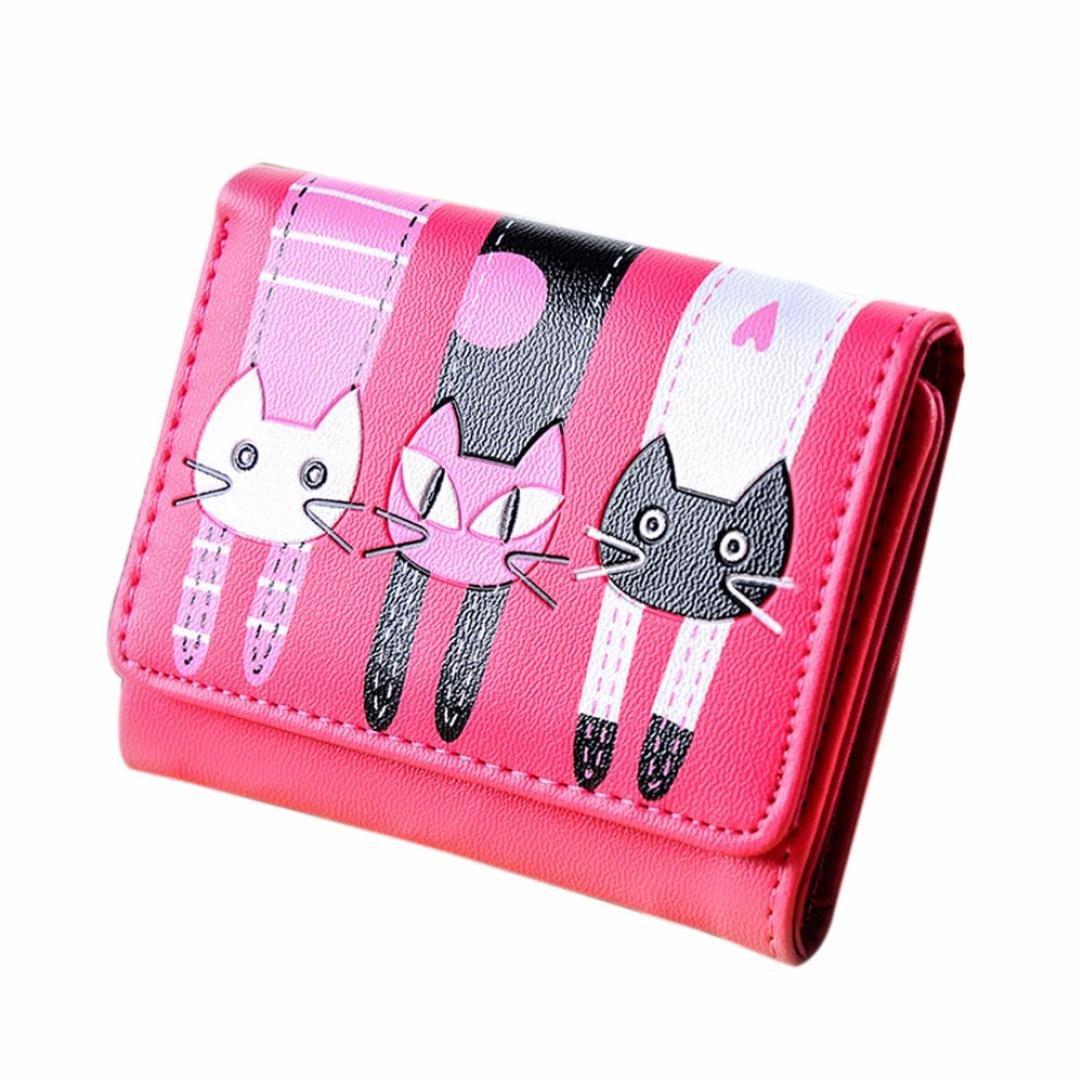 Sumen Wallet, Cat Pattern Coin Purse Short Wallet Card Holders Handbag (Hot Pink)
