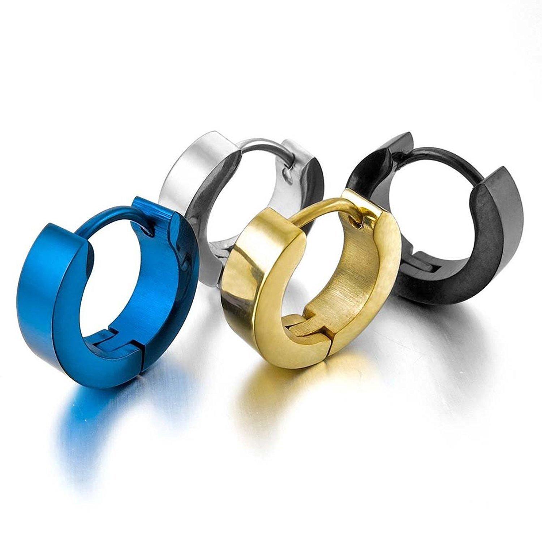 7ddb46ce4fb8 Aro Hoop Pendientes Conjunto - TOOGOO(R)Acero Inoxidable Semental Aro Hoop  Huggie Pendientes Plata Negro Azul Oro Clasico Encanto Atractivo Elegante (  4 ...