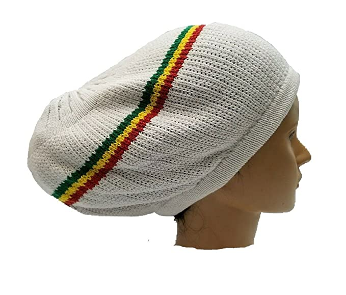 69b4db7190b96 Amazon.com: FIREBUN White W/Stripes Jamaica Dreadlocks Rasta Hat Cap ...