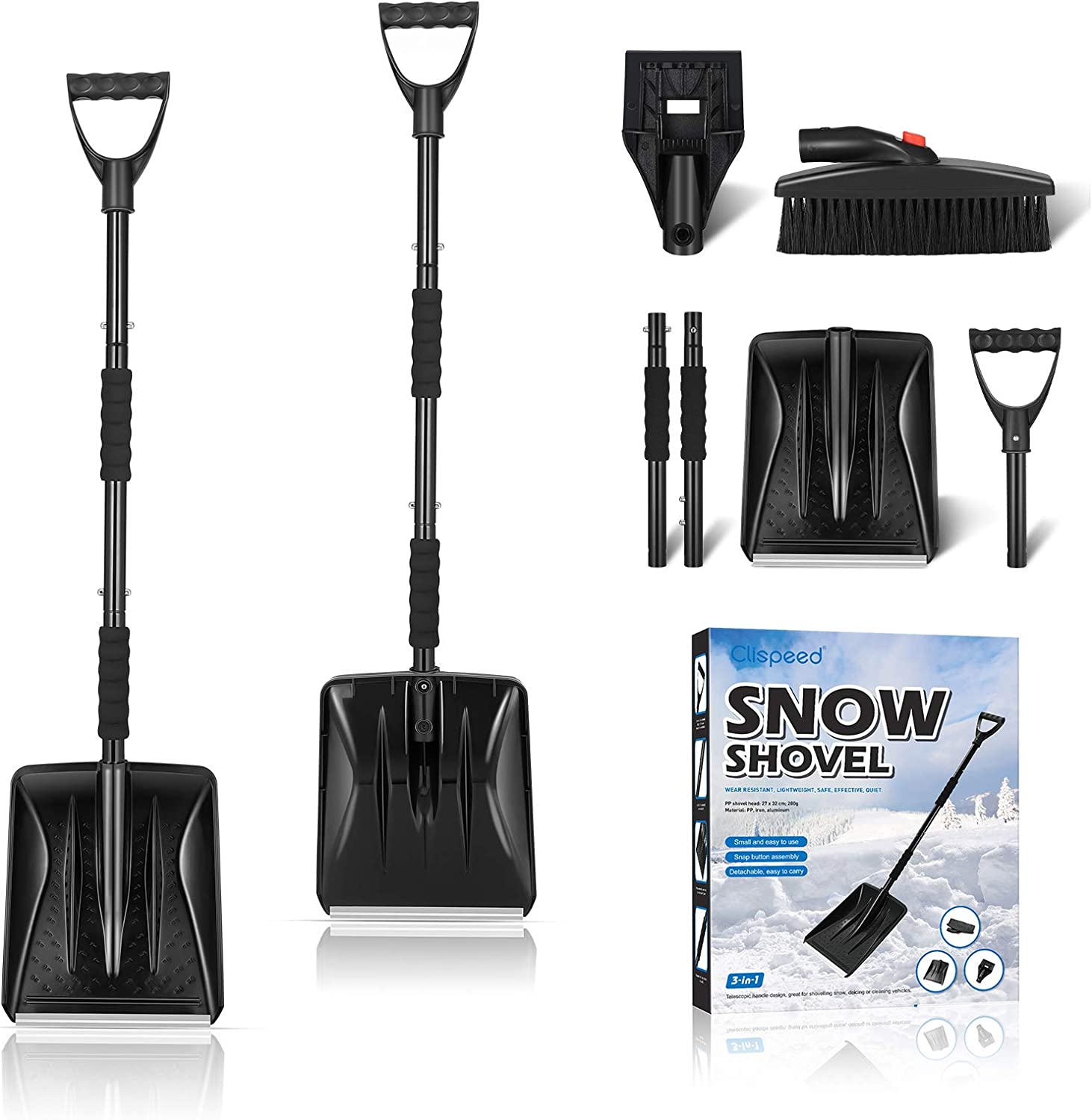 Backyard with Carrying Bag Camping Portable Snow Remover for Truck Collapsible Snow Brush with Ice Scraper and Snow Shovel 3-in-1 Snow Brush Kit Emergency Snow Removal Car Set