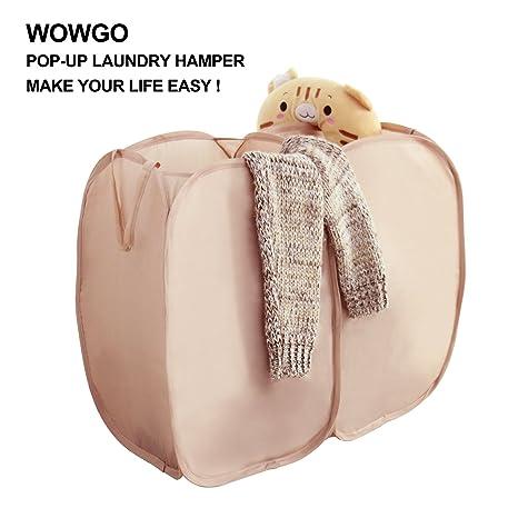 Wäschekorb, wowgo 2 in 1 Pop Up Wäschesammler Wäsche Korb faltbar Nylon  Wäschesack Spielzeug ordentliche Aufbewahrung braun