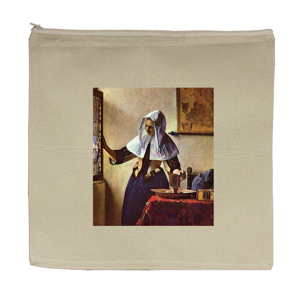 Young Woman Water Jug At Window (Vermeer) Canvas Zipper Tote Bag Makeup Bag