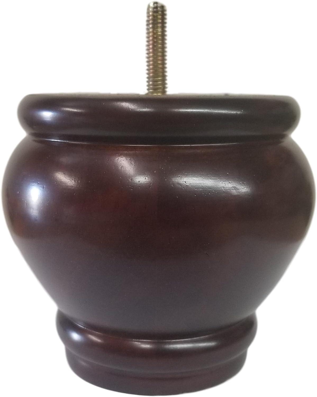 """4"""" Walnut Sofa/Couch/Ottoman Wood Bun Solid Wood Furniture Legs 5/16"""" Bolt Thread - Set of 4"""