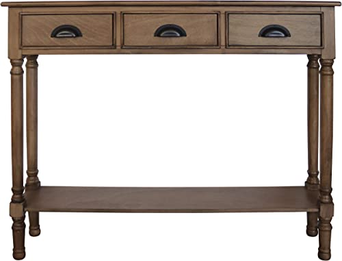 Urbanest Burlington Console Table with 3 Drawers, 32-inch Tall, 39 1 2-inch Wide, 9-inch Deep, Sahara