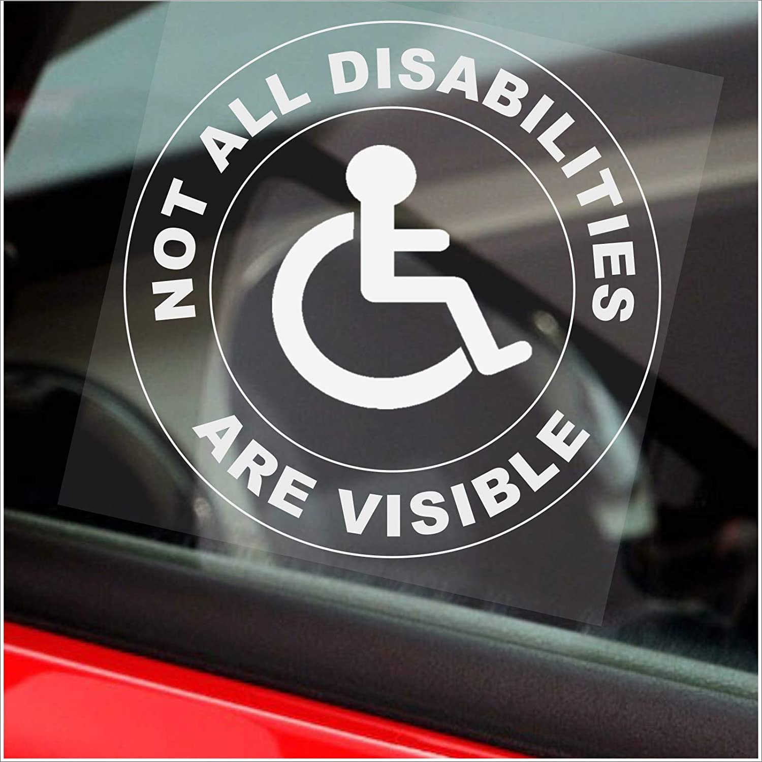 Amazon Com Platinum Place 1 X Not All Disabilities Are Visible Round Van Truck Bus Disabled Window Sticker Sign Car Badge Blue Holder Warning Notice Driver Passenger Vehicle Taxi Cab Mini Automotive [ 1500 x 1500 Pixel ]