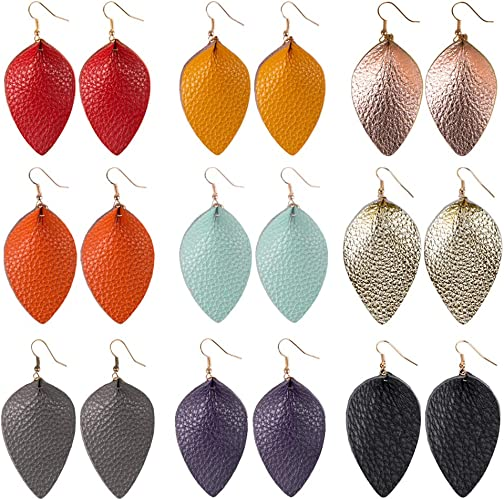 Women New Teardrop Leather Earrings Antique Looking Leather Drop Dangle Earrings