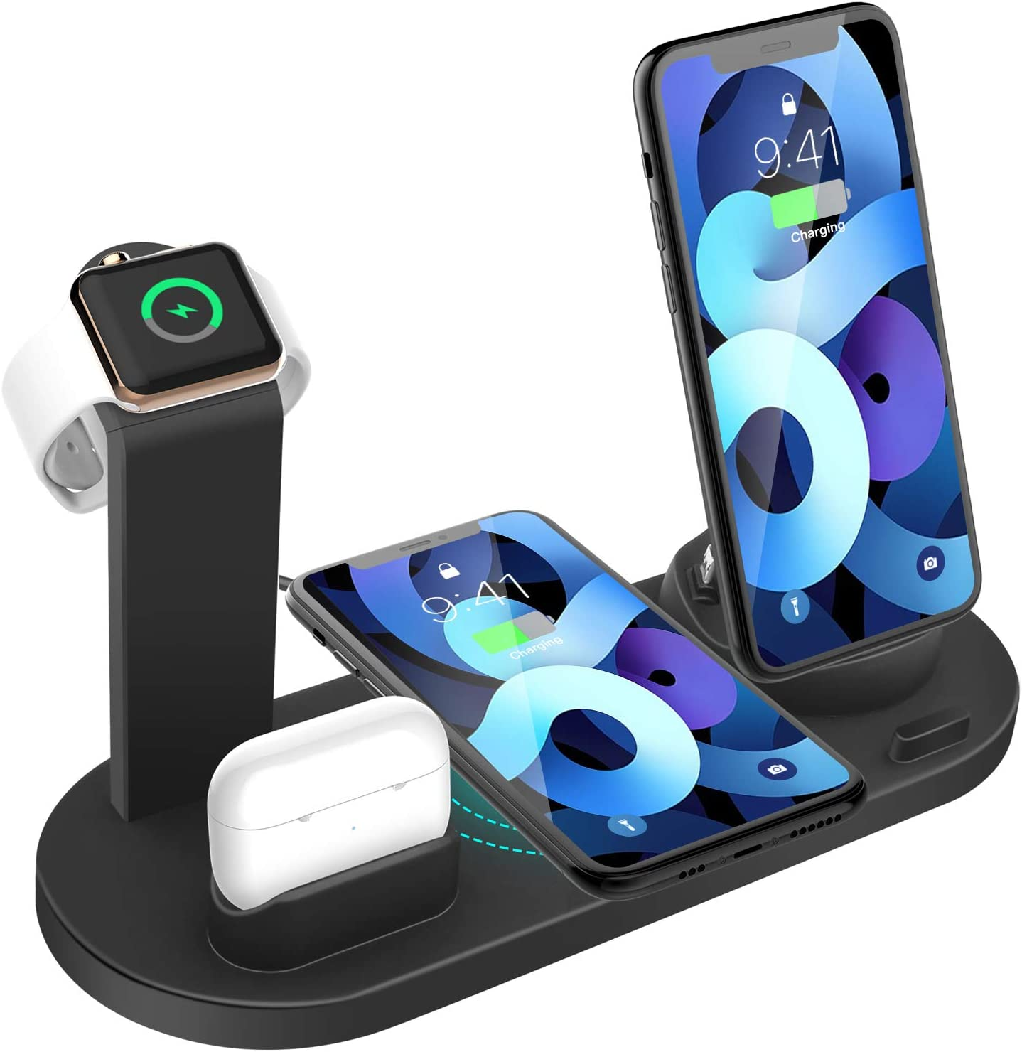MANKIW Wireless Charging Station Fast Charging for iPhone 11//11 Pro Max//XR//XS Max//Xs for iWatch Series 5//4//3//2//1 IWatch /& AirPods /& Pencil Charging Dock Station 4 in 1 Black