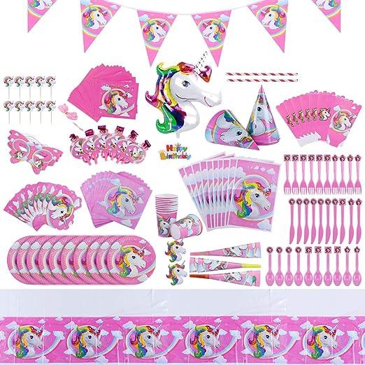 Juego de suministros de fiesta temática de unicornio para niñas decoración de cumpleaños para 10 invitados, mantel, platos, vasos, servilletas, etc. ...