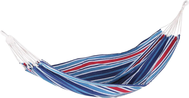 Outsunny Hamaca para Colgar 210x150 cm Color Azul Carga 210kg para Playa Piscina Jardin Camping 70% Algodon