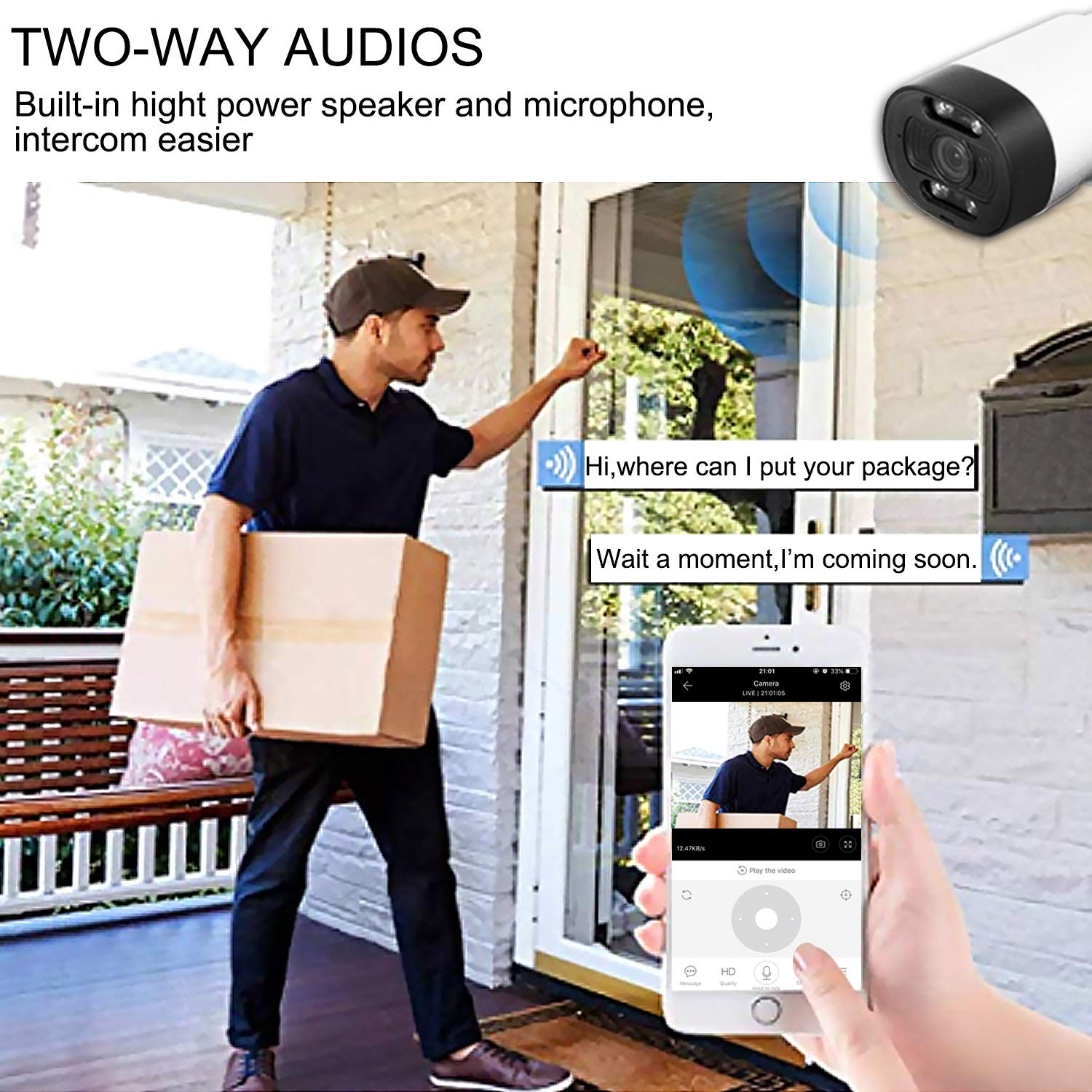 iWINTOP Outdoor Security Camera Wireless 1080P WiFi Surveillance Camera with Night Vision Siren Alarm Two-Way Audio Motion Detection Cloud Service Waterproof
