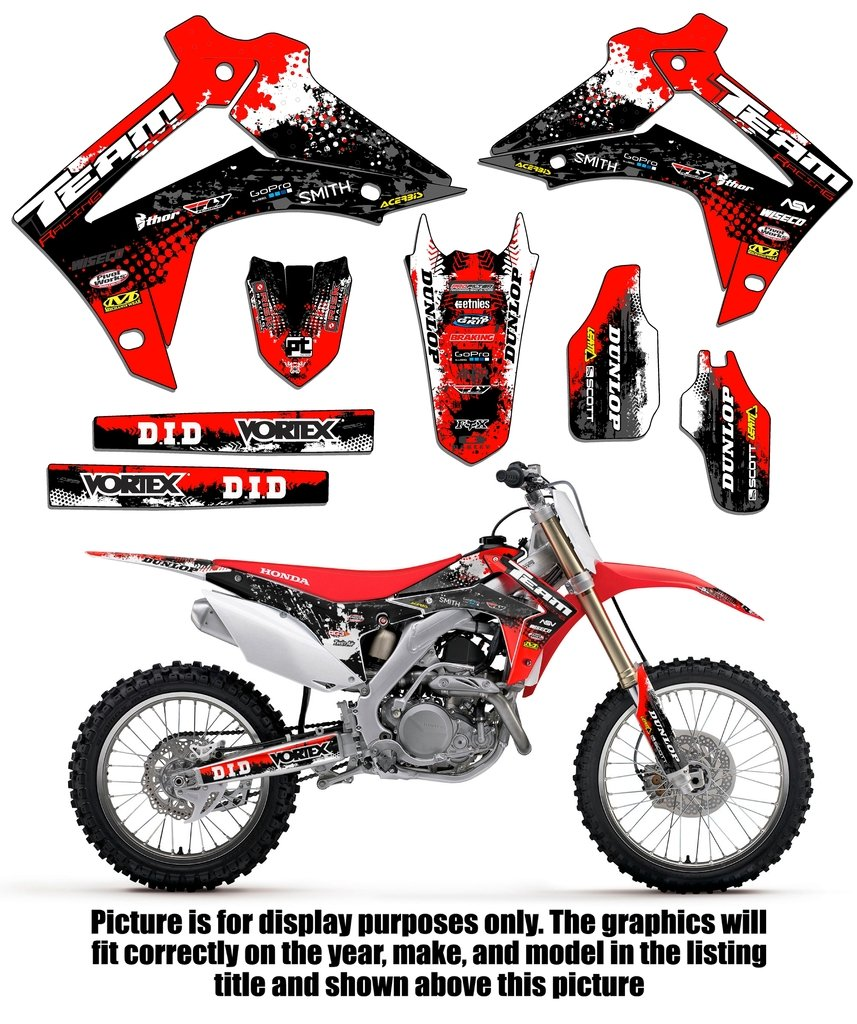 amazon com team racing graphics kit for 2004 2010 honda crf 80 100