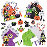 Baker Ross Kit Porte Stregate Fai da Te a Tema Halloween per Bambini (Confezioni da 4)