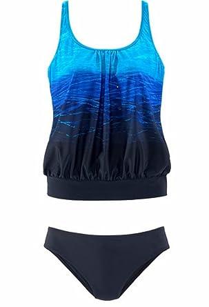 5c699e24e53dd crazycatz@Women Two Pieces Blouson Tankini Sets Loose Fit Tankini Sets  Cross Back (US
