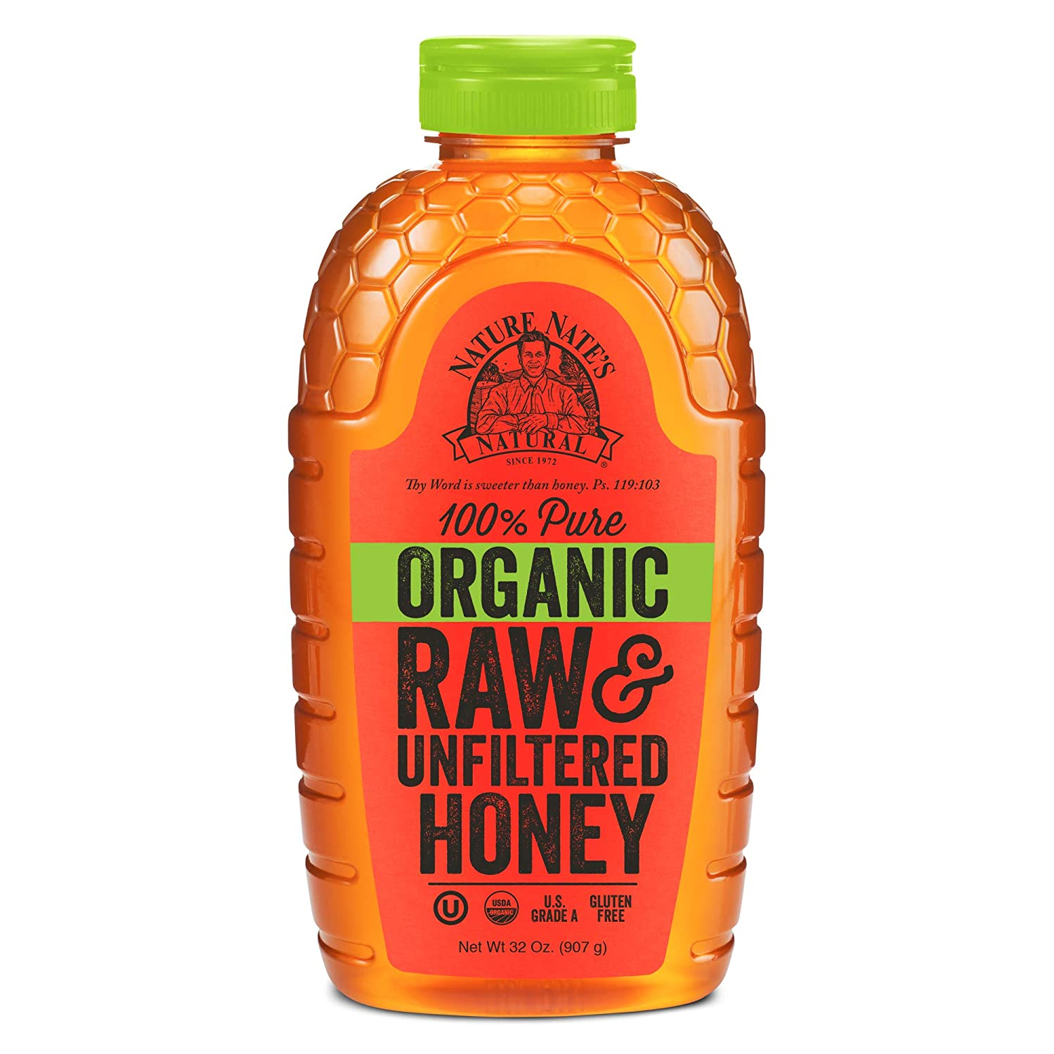 Nature Nate's 100% Pure Raw & Unfiltered Organic Honey; 32-oz. Squeeze Bottle, Honey's Balanced Flavor and Wholesome Benefits, Just as Nature Intended (Packaging may vary)