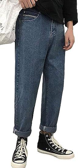 Alhylaメンズ デニムパンツ 無地 厚手 裏起毛 韓国風 ワイドパンツ ストレート 黒 ファッション ロングパンツ ボトムス 美脚 脚長 ストリート風 通勤 ビジネス