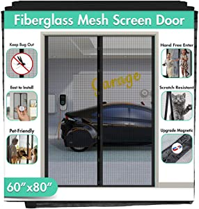 """Upgraded Fiberglass Magnetic Screen Mesh for French Door [60""""W 80""""L] IKSTAR Instant Double Screen Door with Full Frame Magic Tape Curtain Mosquito Net Bug Out Fit Door Up to 58""""x 79"""" Max"""