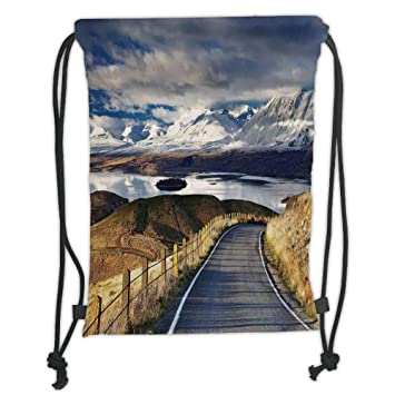 Drawstring Backpack Snow Mountain Scenery Shoulder Bags