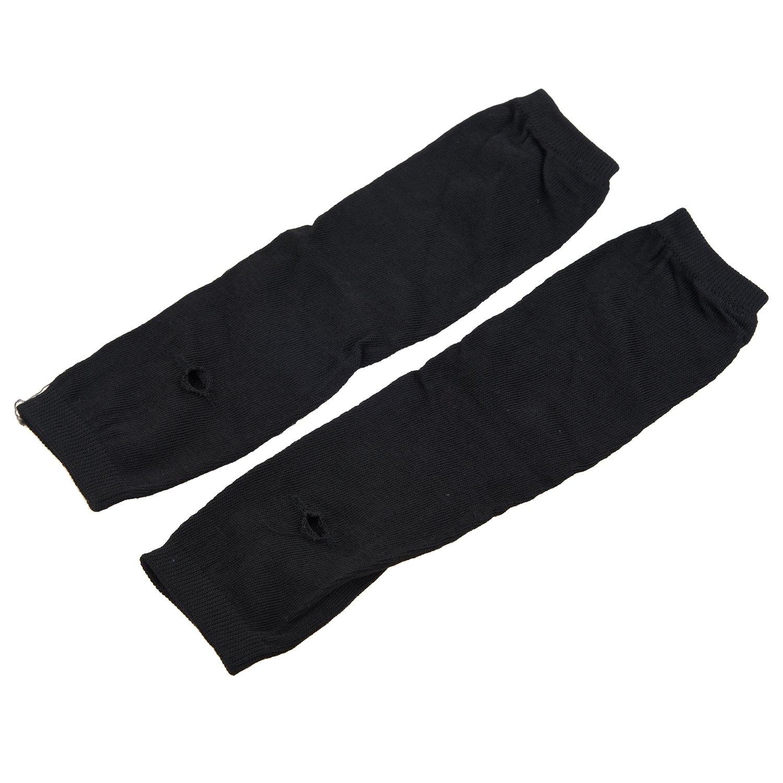 SODIAL (R) Braccio elastico morbido delle donne di modo della signora Girls 'Warmer manica lunga Guanti senza dita - nero SODIAL(R)