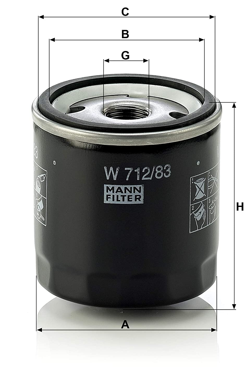 MANN-FILTER Original Filtro de Aceite W 712/83 - Para automóviles y vehículos de utilidad: Amazon.es: Coche y moto