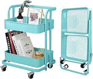 2-Tier Foldable Utility Rolling Cart Multifunction Storage Shelves with Handle and Wheels for Office Kitchen Bathroom Organization,Turquoise