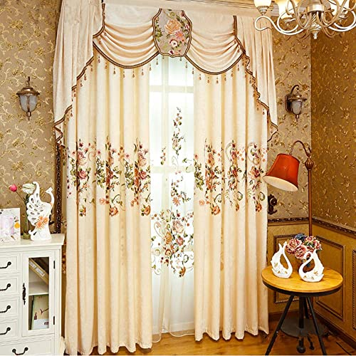 WPKIRA Grommet Blackout Curtains Chenille Floral Embroidered Curtain Window Treatment Panels